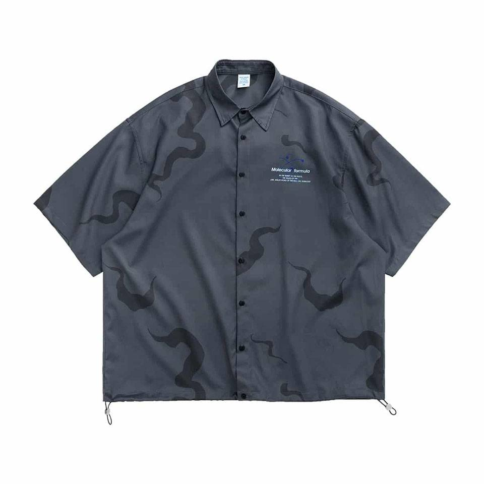 เสื้อฮาวายสีเทาพิมพ์ลายจั๊มเอว by inflation