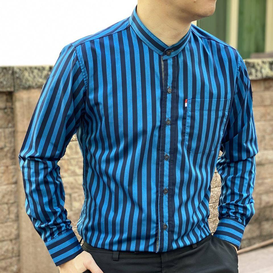 เสื้อเชิ้ตคอจีนแขนยาว Twill Cotton