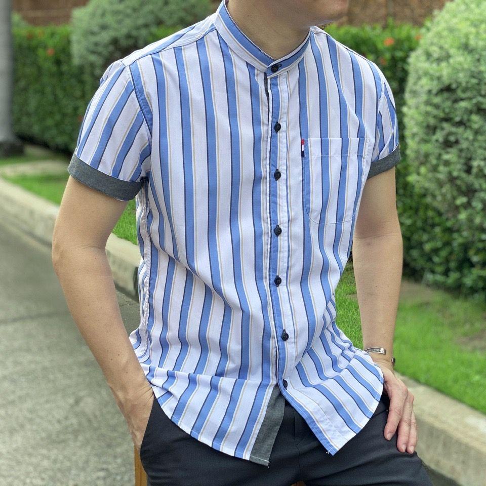 เสื้อเชิ้ตคอจีนแขนสั้น Twill Cotton
