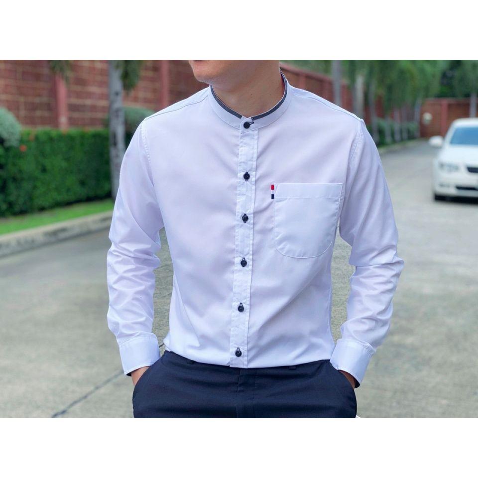 เสื้อเชิ้ตคอจีนแขนยาวไม่มีลาย Twill Cotton 100%