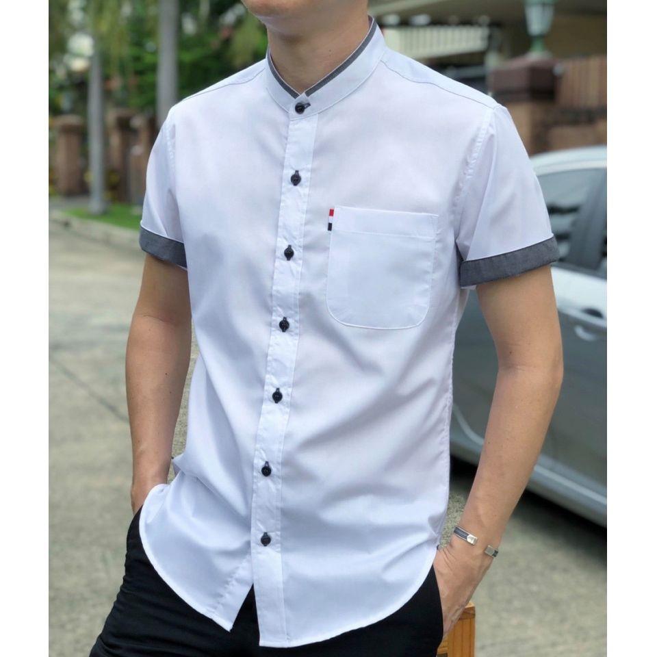 เสื้อเชิ้ตคอจีนแขนสั้นไม่มีลาย Twill Cotton 100%